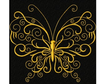 Golden Butterfly 6 Fill Machine Embroidery DESIGN NO. 473