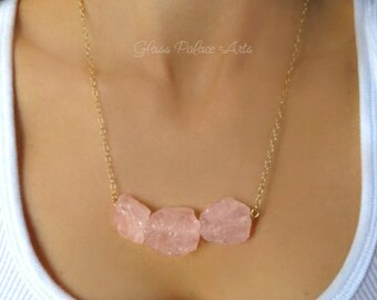 Raw Rose Quartz Necklace Gold, Chunky Rough Stone Necklace Sterling Silver, Raw Gemstone Jewelry For Women Handmade, Pink Natural Stone