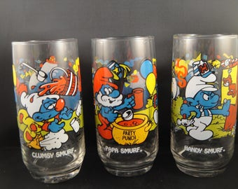 Smurf Character Glasses - Handy, Clumsy and Papa Smurf  From Wallace Berrie