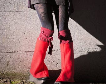 Fleece Leg Warmers, Knee High Shoe or Boot Covers, Steampunk Spats, Victorian Costume Accessories