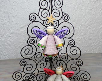 Angel, Christmas angel, quilled angel, tree ornament, Christmas ornament, Christmas decoration, upcycled cardstock, quilling