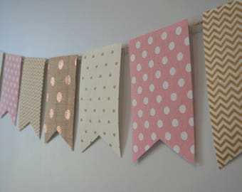 Shabby Chic Pink and Gold Bunt Flag Banner