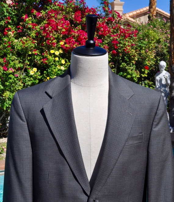 Men's Gray Plaid 100% Wool Blazer Jacket by Stafford Sz 42R