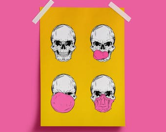 Skull Print - Skulls Poster - Bubble Gum wall - Funny art Prints- Pop-Art Illustration