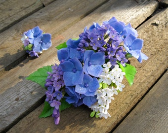 Blue barrette Flower hair clip Floral hair accessory Blue wedding hair piece Lilac wedding hair clip Nature hair clip Hydrangea hair flower