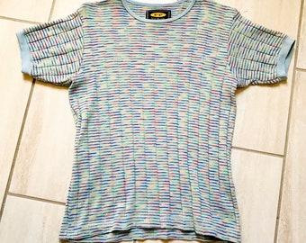 Vintage 1990s Free People Brand Rainbow Ribbed Boho Hippie Hipster Grunge Ladies Shirt Sz L