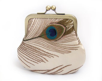 Peacock feather cross-body bag with chain handle, clutch shoulder purse embroidered silk, clutch, feathers