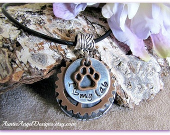 Stamped Dog Breed Jewelry, Custom Dog Lover Necklace, Gift for Dog Mom, Gift for Cat Mom, Stamped Paw Print Jewelry, Fundraising Pet Gift
