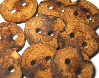 Handmade Wooden Tree Branch Buttons, Natural Wood Buttons, Rustic Buttons, Oak Wood, Mixed Sizes, Set of 12