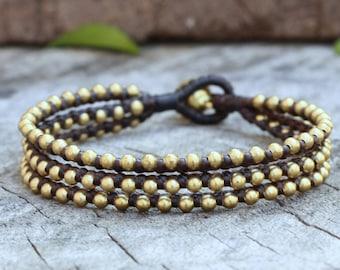 Triple Chill Brass Bead Bracelet