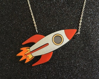 Laser Cut Rocket Ship Glittery Space Statement Acrylic Necklace