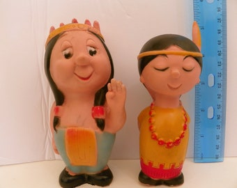 Rare 1950's Pair of Indians - Combex Rubber Squeak Toy  , Combex England Squeeze Toy , Vinyl Squeaker Toy , Native American Rubber Dolls