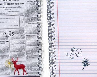 "Spiral Notebook ""Printa"" / Journal / Sketchbook - blank or lined - newspaper and deer / black & white design, 3 sizes"