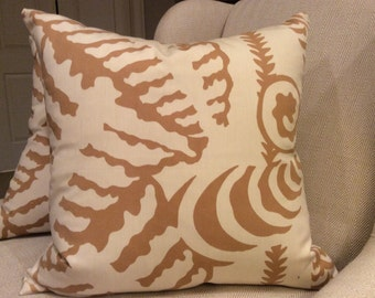 QUADRILLE Alan Campbell pillow Cover in Camel and Linen Ferns Uni Woven, White Linen Backing, Choose Size Option