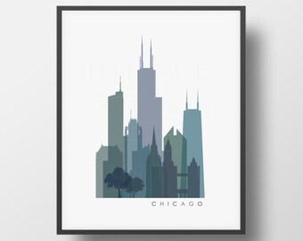 Chicago Skyline Printable Download -  Monochrome Transparent - Chicago Buildings  -  Wall Art