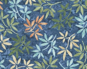 Tranquility Pacific Leaves by Wing and a Prayer Design - Timeless Treasures #C6055 Pacific - Blue Leaves Cotton Fabric - By the Yard
