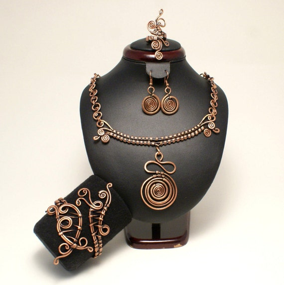 Kupfer Schmuck-Set Ohrring Kupfer-Kette Kupfer Kupfer Ring
