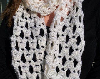 White Crocheted Lace Scarf