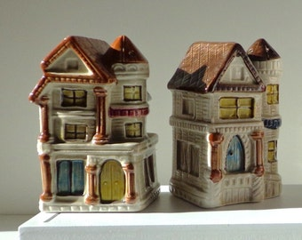 Salt and Pepper Shaker Set .  Two Story House by Takashi