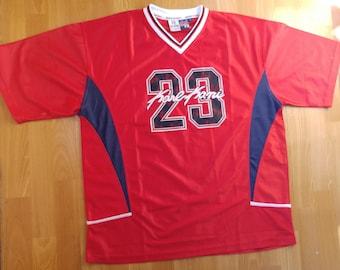 KARL KANI jersey, vintage red shirt 90s hip-hop clothing, 1990s hip hop t-shirt, og, streetwear, gangsta rap, polyester, old school, size XL