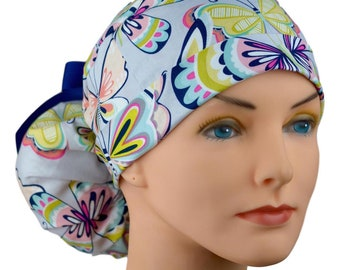 Scrub Hats // Scrub Caps // Scrub Hats for Women // The Hat Cottage // Ponytail // Butterflies