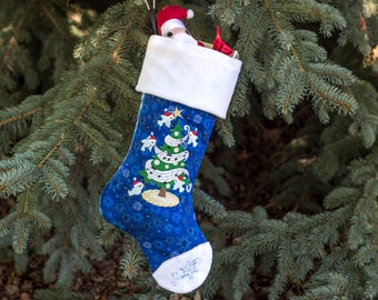 Christmas Bluebirds Tree and Snowflake Christmas Stocking