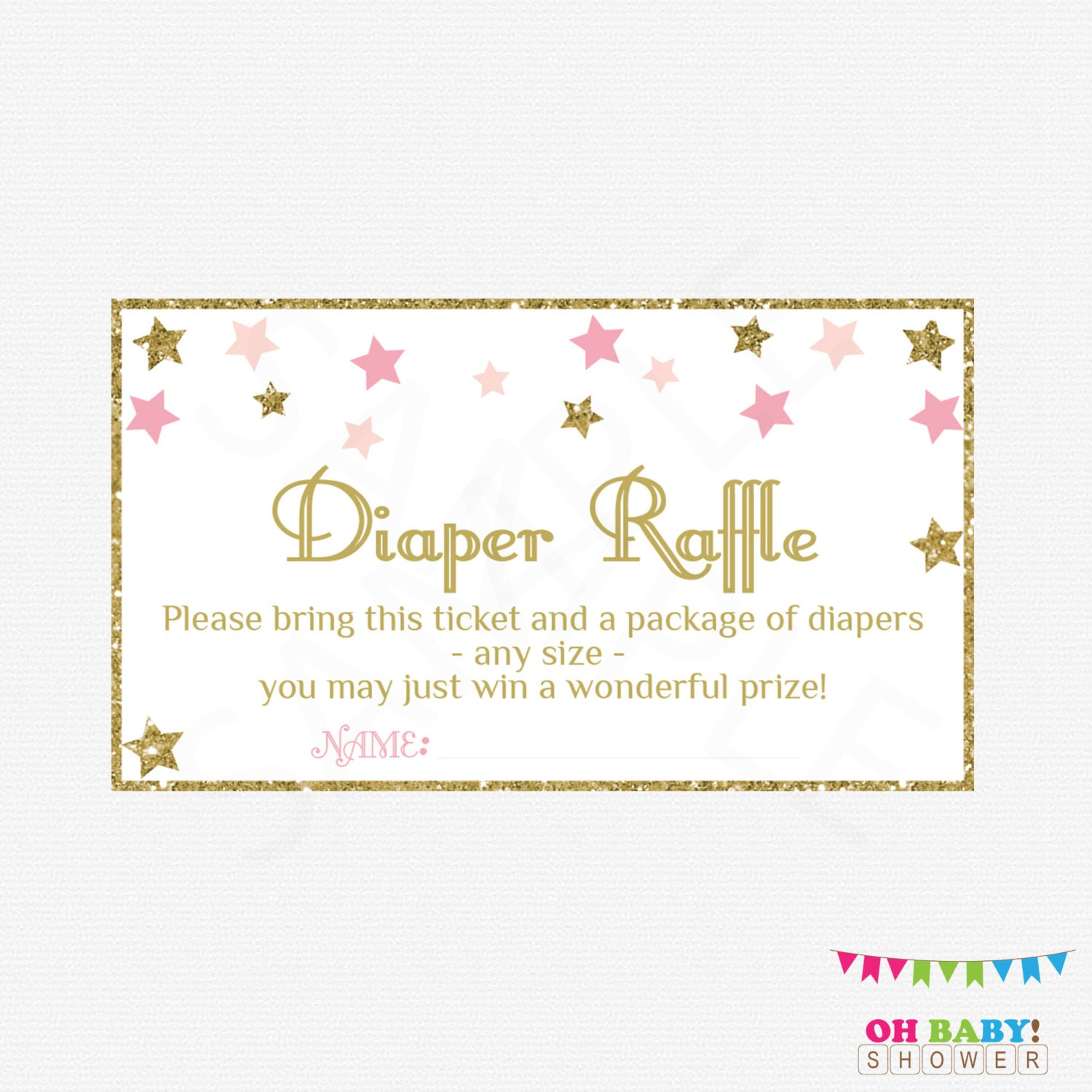 Gutsy image for free printable diaper raffle tickets for girl baby shower