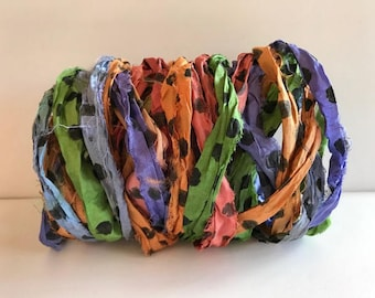 Silk Sari Ribbon-Multi Colored Polka Dot Sari Ribbon-10 Yards