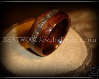 Bentwood Ring with Rosewood and offset Beach Sand Inlay - Handmade Bentwood Ring Extremely Durable, Beautiful and Eco-friendly Wood Ring.