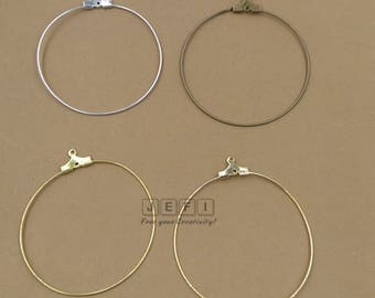 50 Brass 40mm Round Beading Earring Hoops W/ Ring Raw Brass/ Antique Bronze/ Silver/ Gold/ 14k Gold Plated Wholesale Earrings