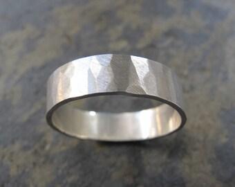 Men's wide hammered ring - Men's hammered wedding band ring