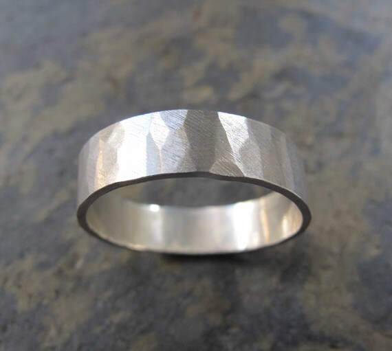 men s wide hammered ring men s hammered wedding band