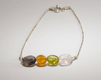 Set multicolor semi precious stones and sterling silver * stone of well being