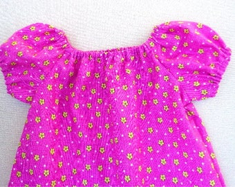 ON SALE! Pink Dress for Girl 12-18M, Pink Peasant Dress, Pink & Yellow Toddler Girl Dress, Pink Summer Dress Girl