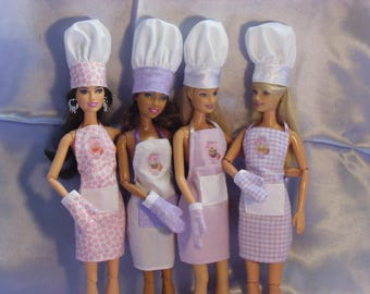 6 outfits for barbie type dolls kitchen