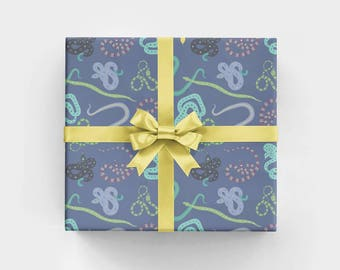 Jungle Snakes Wrapping Paper Sheets- WS1168 - Jungle Gift Wrap with Snakes - Purple and Green Jungle Gift Wrap - Boy's Birthday Gift Wrap