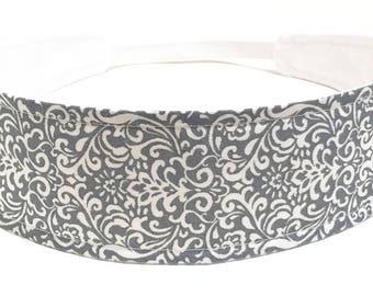 Gray Headband for Women, Adult Headband, Womens Headband - Platinum Gray & White Flourish, Scroll Headband - PLATINUM GRAY FLOURISH