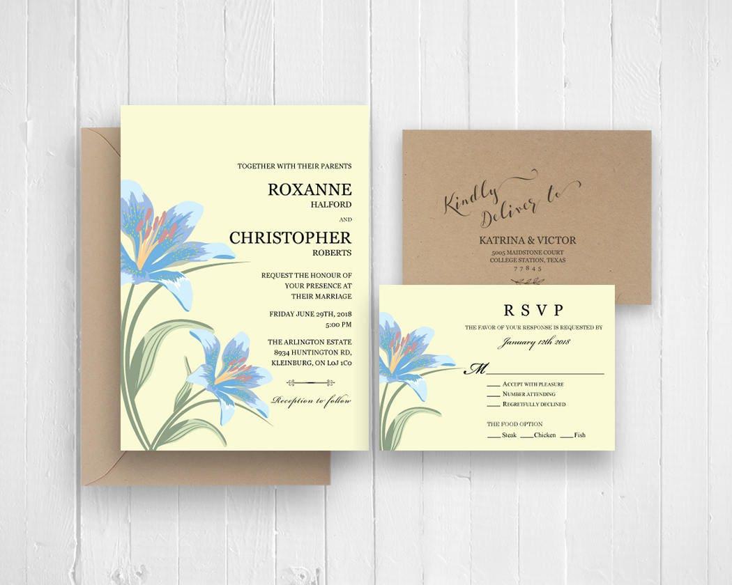 Elegant wedding invitation set, Sky blue calla lily invitations RSVP ...