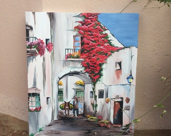 Springtime  Original Acrylic Painting  Italian Landscape Painting  Acrylic on Canvas