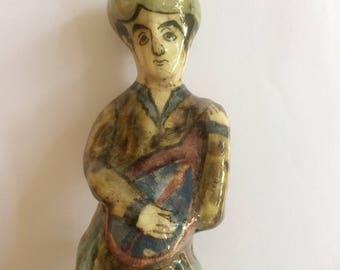 Antique Persian primitive Pottery Painted Musician Statue