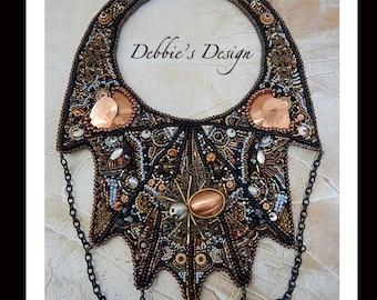 Women's Hand Beaded Necklace-270  Beadwork, Beaded, Bead Embroidery, Women, Bib, Collar, Brown, Copper Spider Web