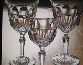 Josair Crystal Wine Glasses(3)Empire pattern,Claret(Red)