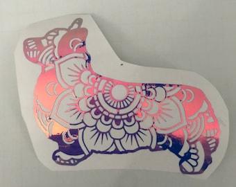Corgi Mandala, Pembroke Welsh Corgi, Holographic Rose Pink