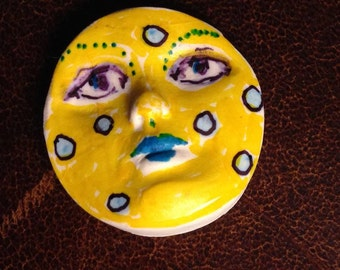 Handmade clay face  round  yellow jewelry craft supplies  handmade cabochon oval face light weight polymer