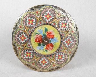 English Floral Embossed Mosaic Tin Vintage Mid Century Cookie Tin Biscuit Tin Candy Tin