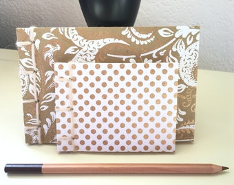 Soft cover journals made from recycled materials - 2-piece set - Paisley and Polka Dots (Gold)