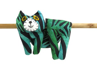 Flat Cat, Hot Cold Rice Bag, Microwave Neck Wrap, Rice Heating Pad, Hot Cold Therapy Pack, Blue Green Black Tiger Pattern #2
