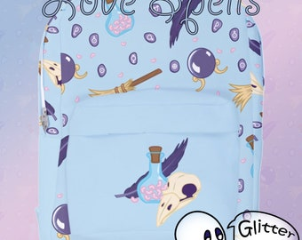Love Spells - Backpack - Blue - Witch - Pastel Goth - Kawaii