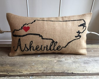 Pillow Cover | Burlap Pillow| Choose your State | State pillow | City pillow | Hostess Gift, Housewarming, Wedding, Moving Gift