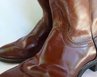 """Laredo Cowboy Boots 7 1/2"""" Mens Roper Brown Leather"""